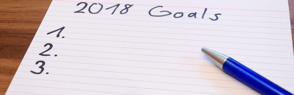 """Bilden visar ett papper där det står """"2018 Goals"""". Under står det 1, 2 och 3."""