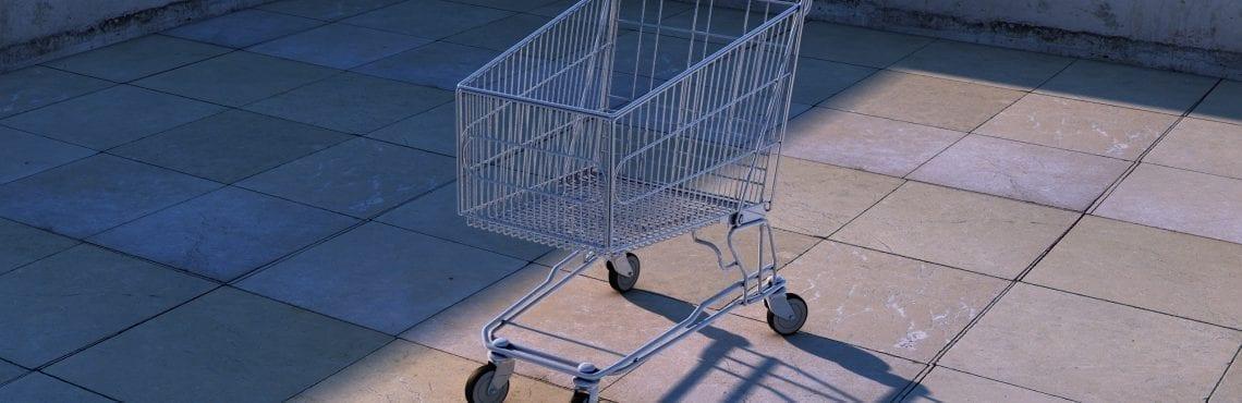 Bilden visar en tom kundvagn.